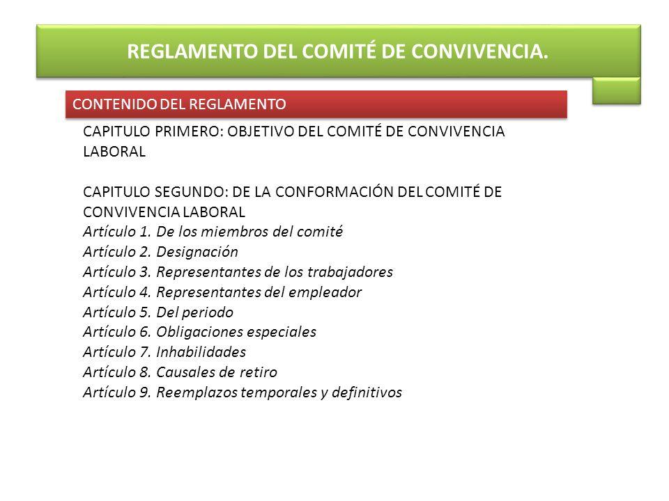 REGLAMENTO DEL COMITÉ DE CONVIVENCIA.
