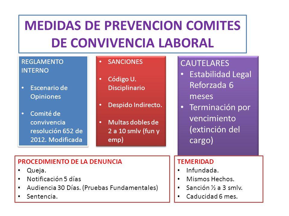 MEDIDAS DE PREVENCION COMITES DE CONVIVENCIA LABORAL