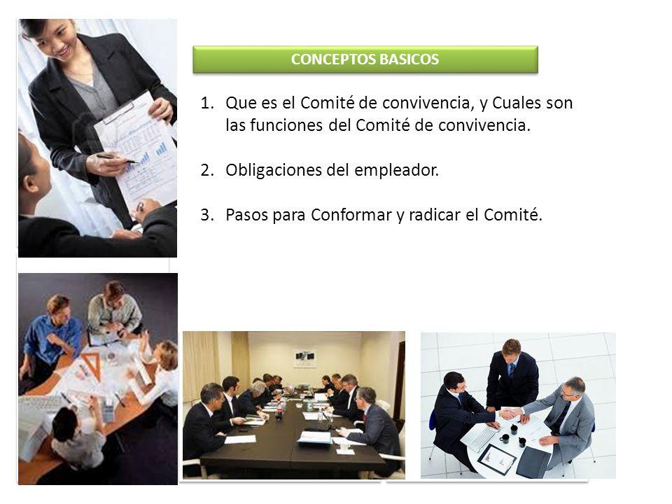 Obligaciones del empleador. Pasos para Conformar y radicar el Comité.