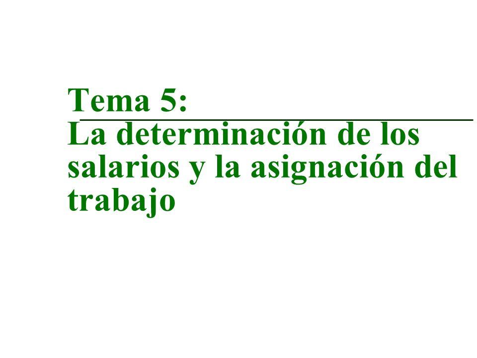 Tema 5: La determinación de los salarios y la asignación del trabajo