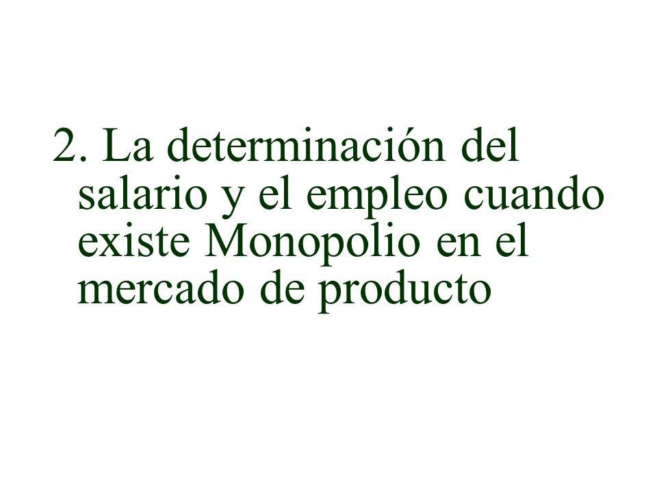 2. La determinación del salario y el empleo cuando existe Monopolio en el mercado de producto