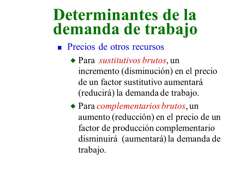 Determinantes de la demanda de trabajo