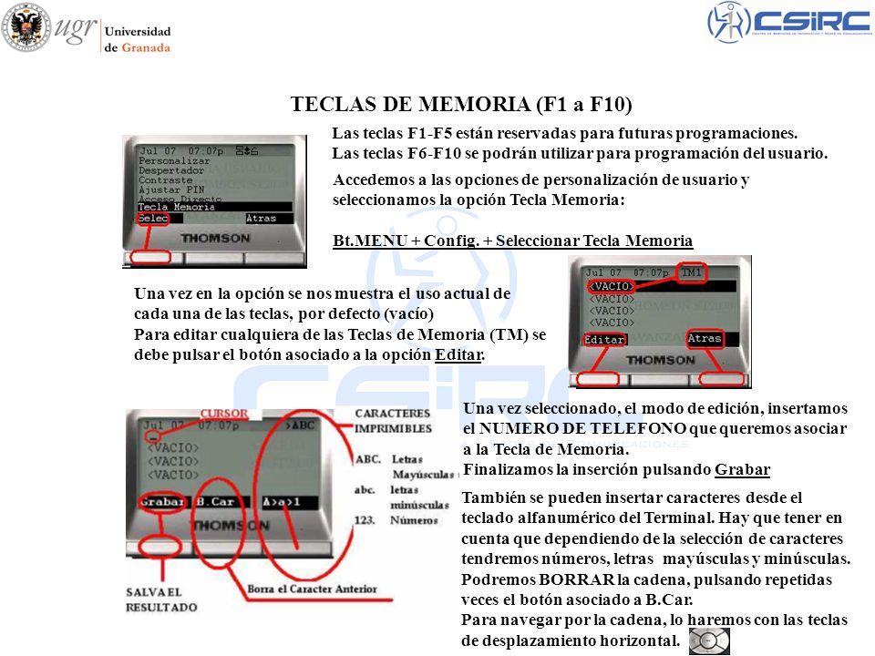 TECLAS DE MEMORIA (F1 a F10)