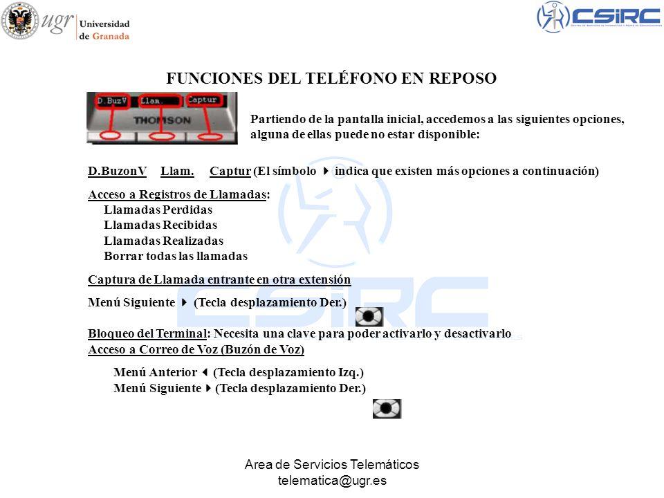 Area de Servicios Telemáticos telematica@ugr.es
