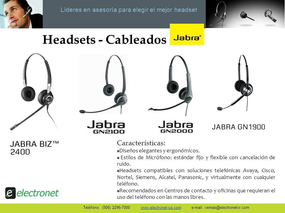 Headsets - Cableados Características: Diseños elegantes y ergonómicos.