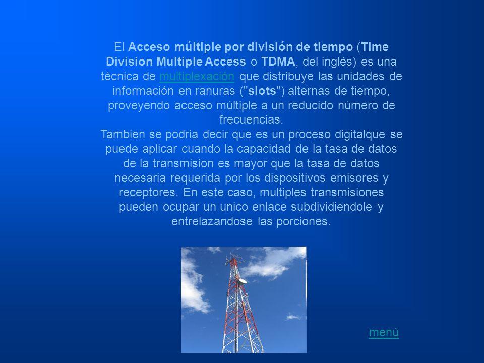 El Acceso múltiple por división de tiempo (Time Division Multiple Access o TDMA, del inglés) es una técnica de multiplexación que distribuye las unidades de información en ranuras ( slots ) alternas de tiempo, proveyendo acceso múltiple a un reducido número de frecuencias.