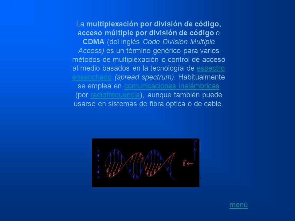 La multiplexación por división de código, acceso múltiple por división de código o CDMA (del inglés Code Division Multiple Access) es un término genérico para varios métodos de multiplexación o control de acceso al medio basados en la tecnología de espectro ensanchado (spread spectrum). Habitualmente se emplea en comunicaciones inalámbricas (por radiofrecuencia), aunque también puede usarse en sistemas de fibra óptica o de cable.