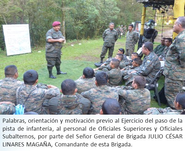 Palabras, orientación y motivación previo al Ejercicio del paso de la pista de infantería, al personal de Oficiales Superiores y Oficiales Subalternos, por parte del Señor General de Brigada JULIO CÉSAR LINARES MAGAÑA, Comandante de esta Brigada.