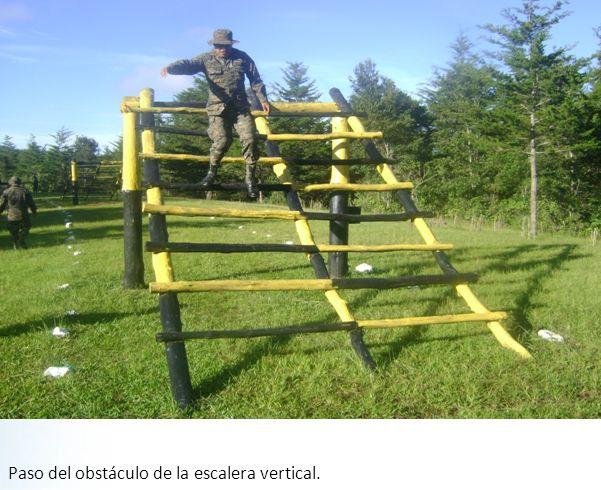 Paso del obstáculo de la escalera vertical.