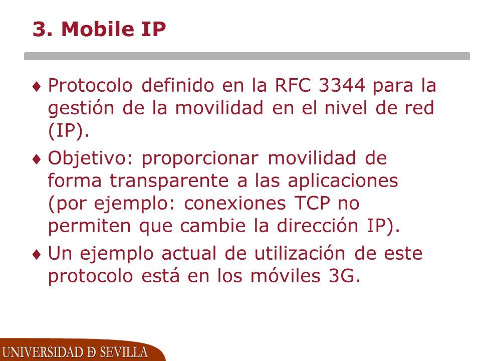 3. Mobile IP Protocolo definido en la RFC 3344 para la gestión de la movilidad en el nivel de red (IP).