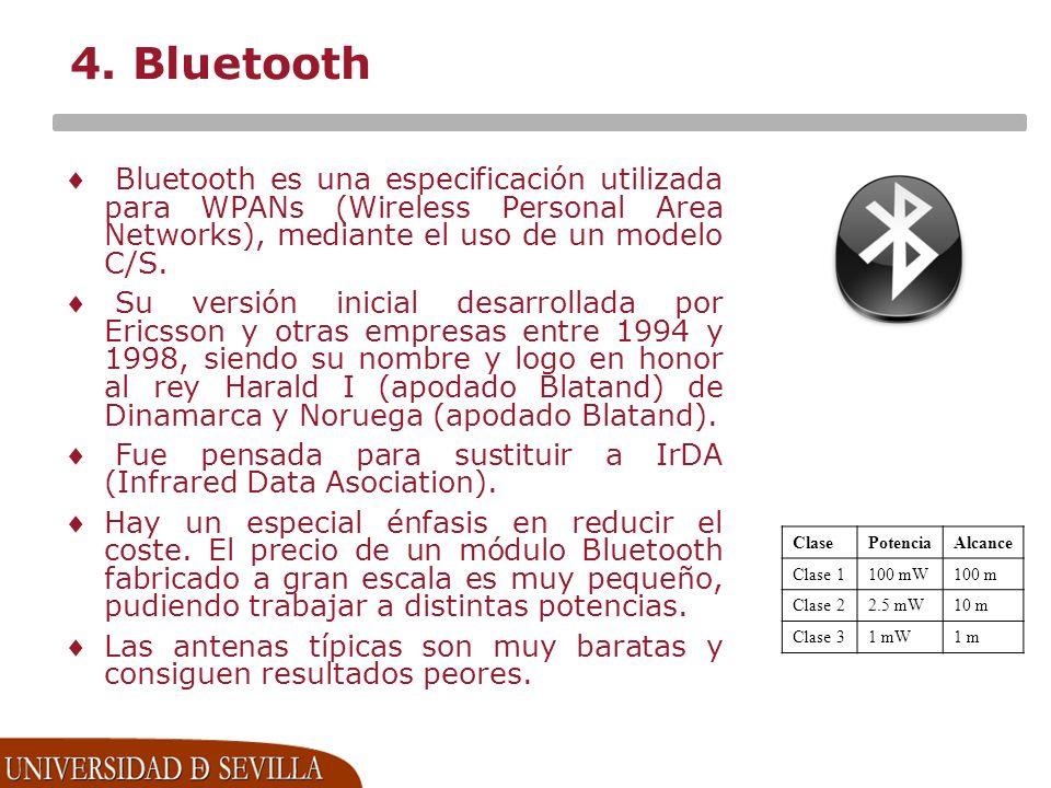 4. Bluetooth Bluetooth es una especificación utilizada para WPANs (Wireless Personal Area Networks), mediante el uso de un modelo C/S.