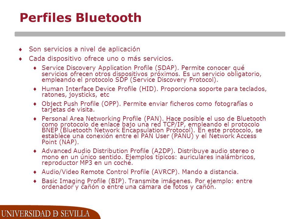 Perfiles Bluetooth Son servicios a nivel de aplicación
