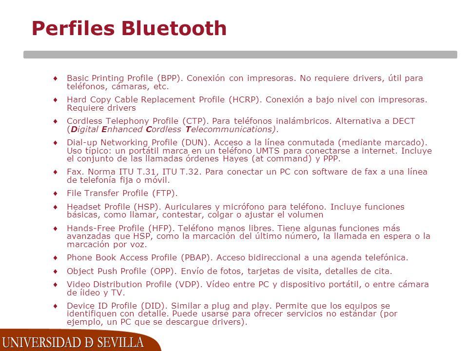 Perfiles Bluetooth Basic Printing Profile (BPP). Conexión con impresoras. No requiere drivers, útil para teléfonos, cámaras, etc.