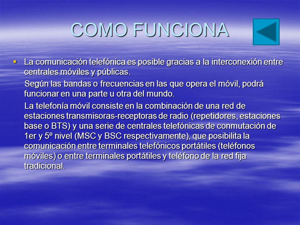 COMO FUNCIONA La comunicación telefónica es posible gracias a la interconexión entre centrales móviles y públicas.