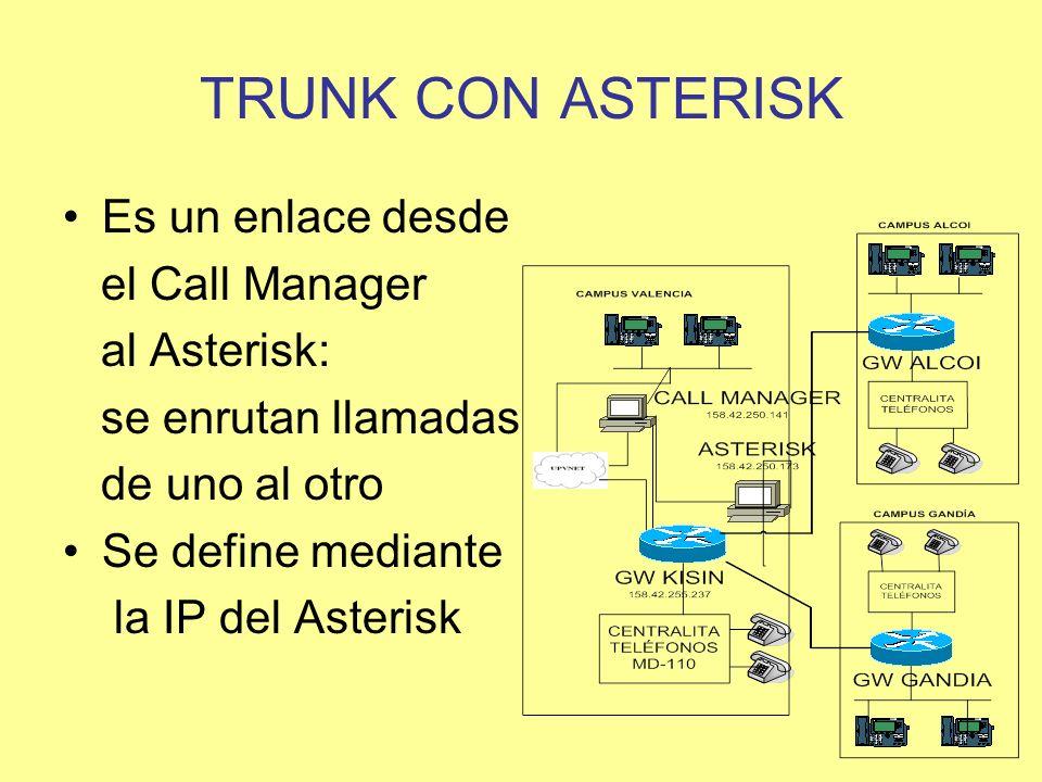 TRUNK CON ASTERISK Es un enlace desde el Call Manager al Asterisk: