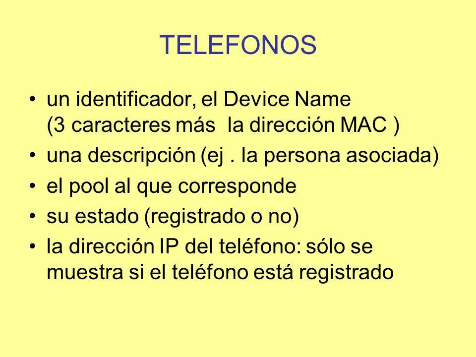 TELEFONOS un identificador, el Device Name (3 caracteres más la dirección MAC ) una descripción (ej . la persona asociada)