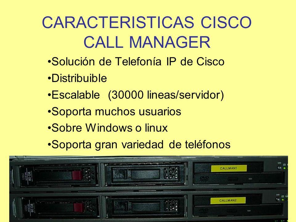 CARACTERISTICAS CISCO CALL MANAGER