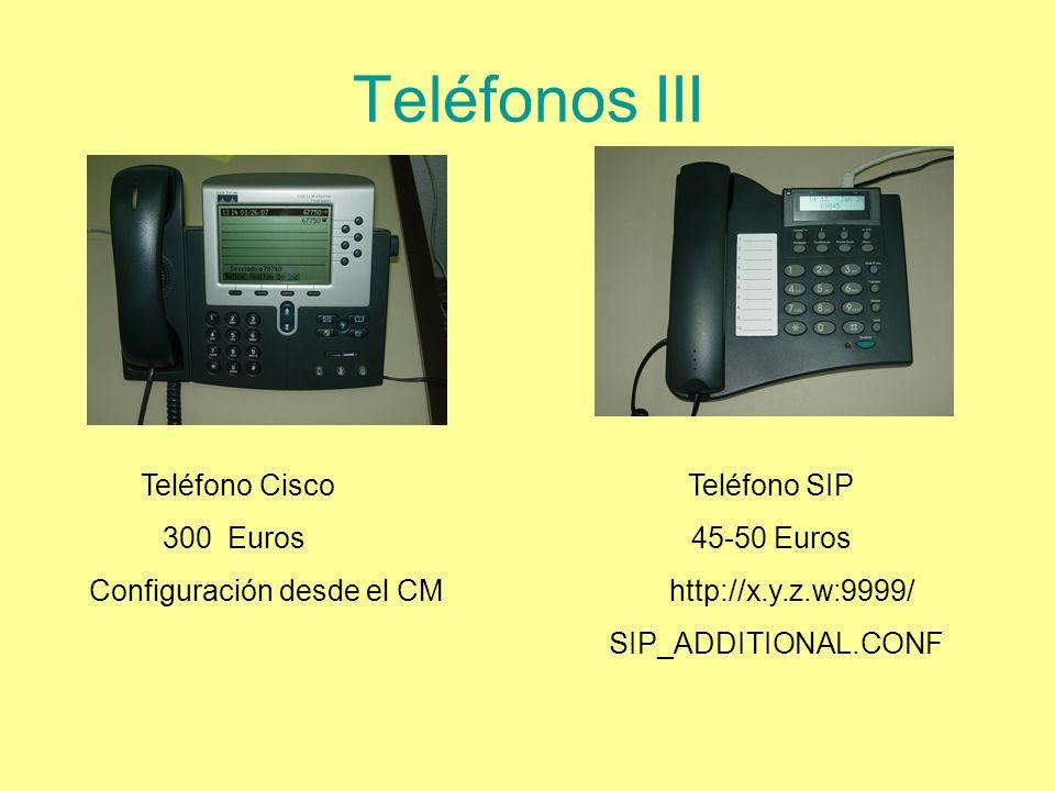 Teléfonos III Configuración desde el CM http://x.y.z.w:9999/