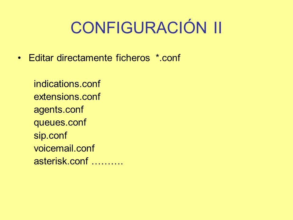 CONFIGURACIÓN II Editar directamente ficheros *.conf indications.conf