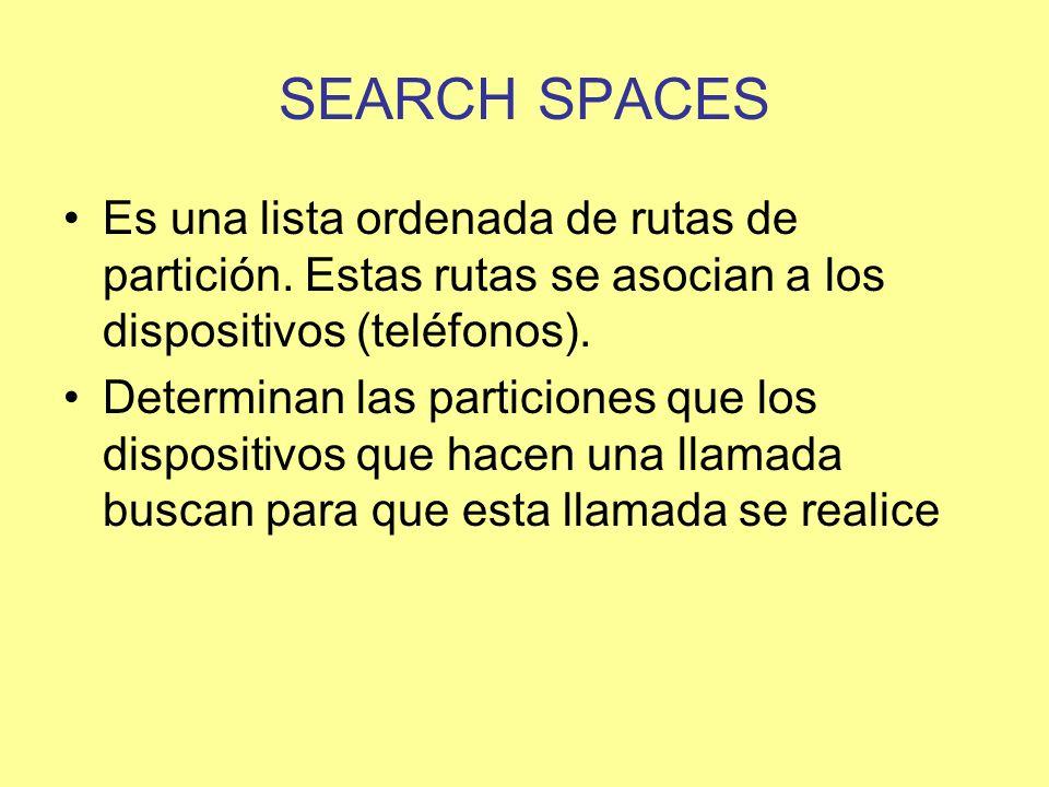 SEARCH SPACES Es una lista ordenada de rutas de partición. Estas rutas se asocian a los dispositivos (teléfonos).