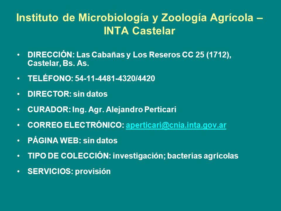Instituto de Microbiología y Zoología Agrícola – INTA Castelar