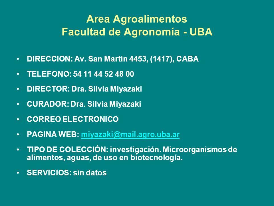 Area Agroalimentos Facultad de Agronomía - UBA