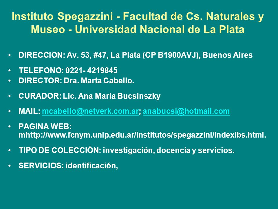 Instituto Spegazzini - Facultad de Cs