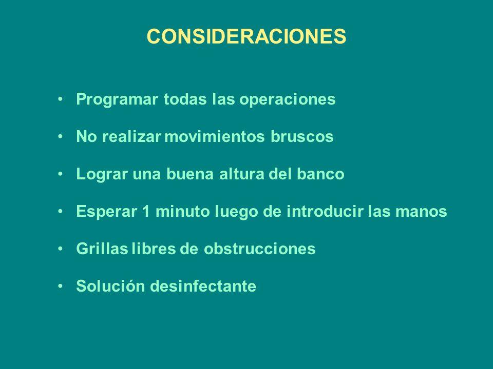 CONSIDERACIONES Programar todas las operaciones