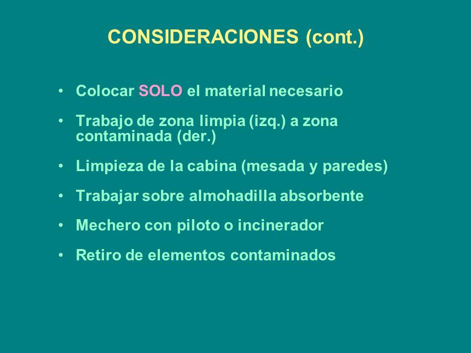 CONSIDERACIONES (cont.)