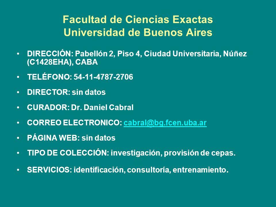 Facultad de Ciencias Exactas Universidad de Buenos Aires