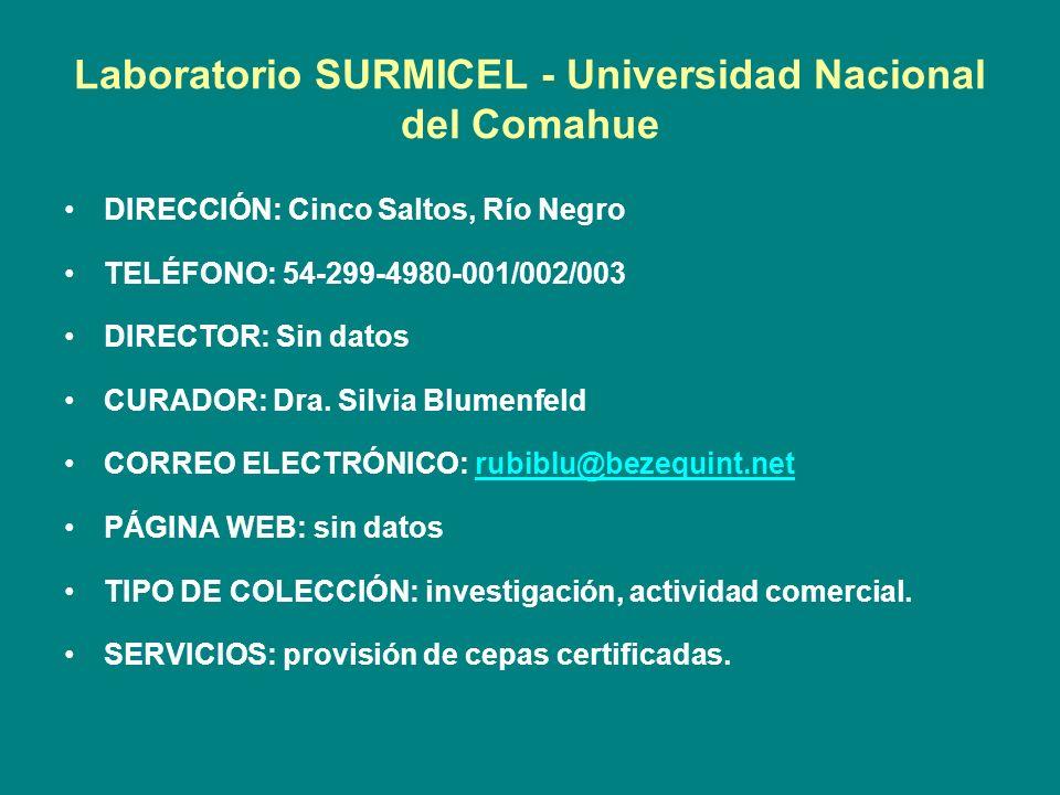 Laboratorio SURMICEL - Universidad Nacional del Comahue
