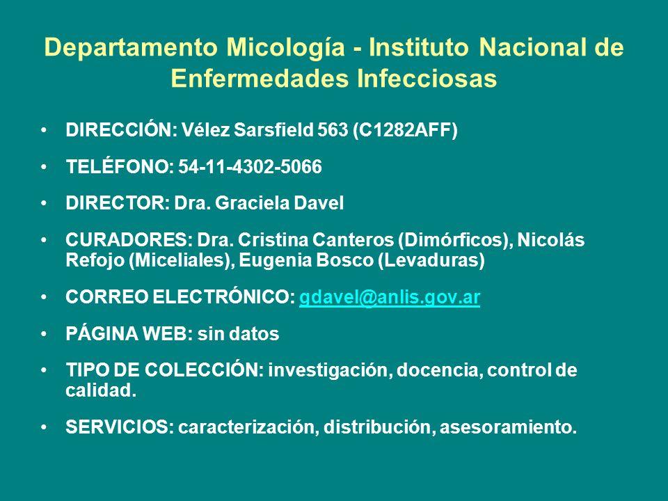 Departamento Micología - Instituto Nacional de Enfermedades Infecciosas