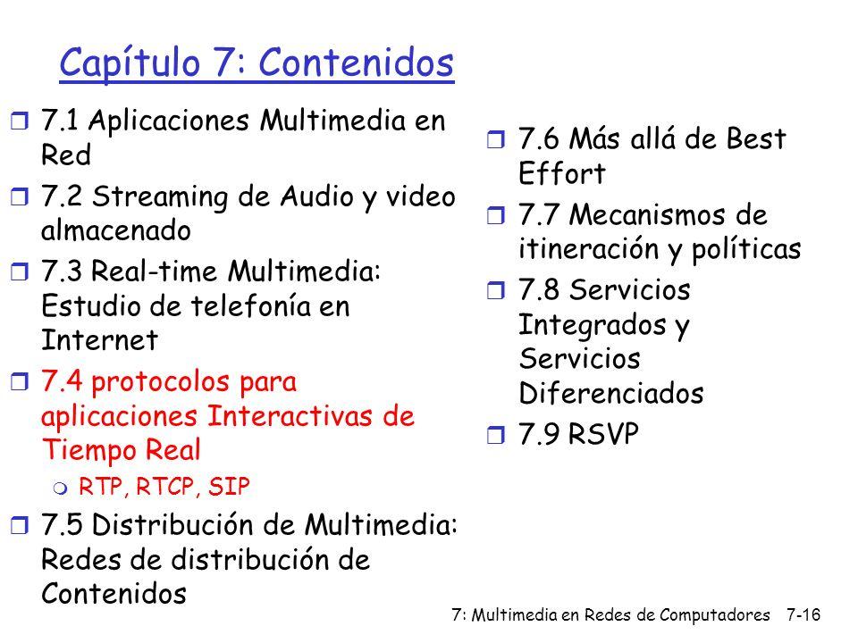 Capítulo 7: Contenidos 7.1 Aplicaciones Multimedia en Red
