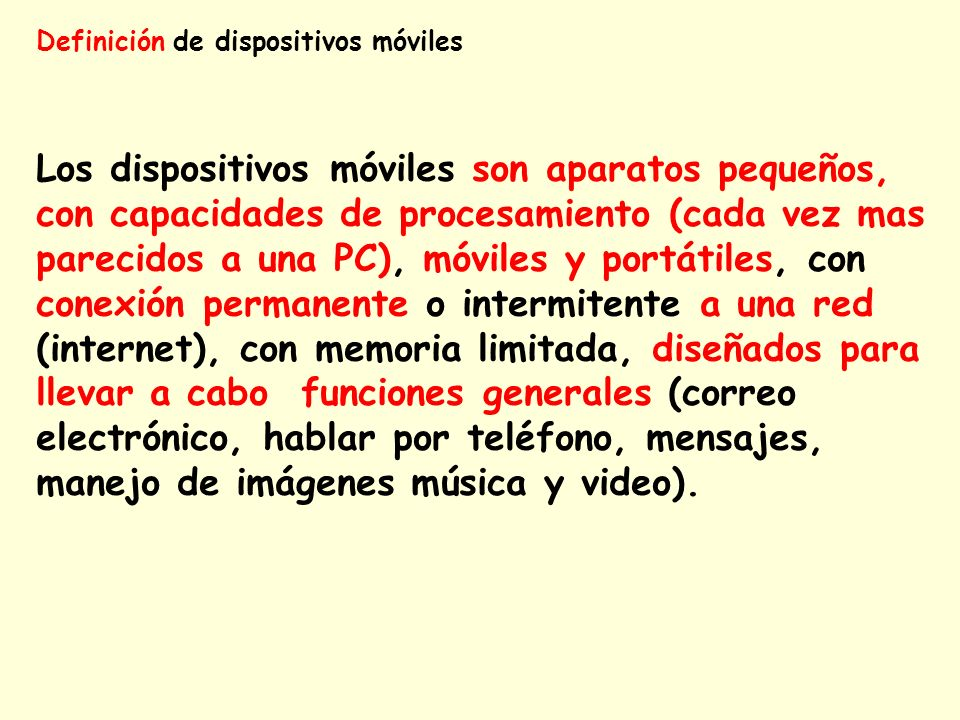 Definición de dispositivos móviles