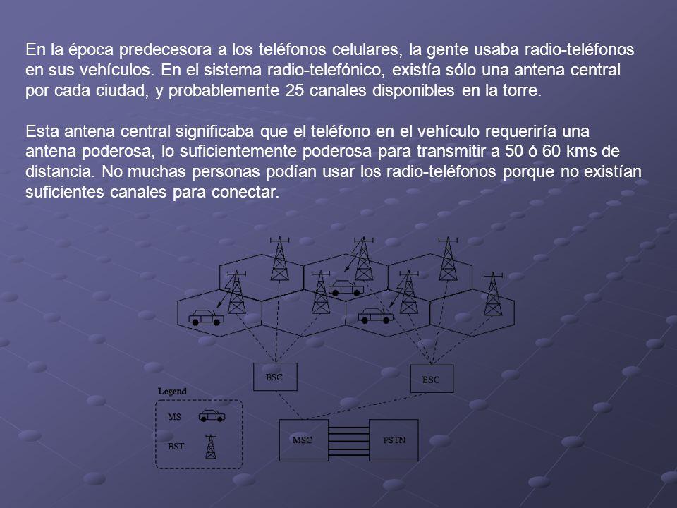 En la época predecesora a los teléfonos celulares, la gente usaba radio-teléfonos en sus vehículos. En el sistema radio-telefónico, existía sólo una antena central por cada ciudad, y probablemente 25 canales disponibles en la torre.