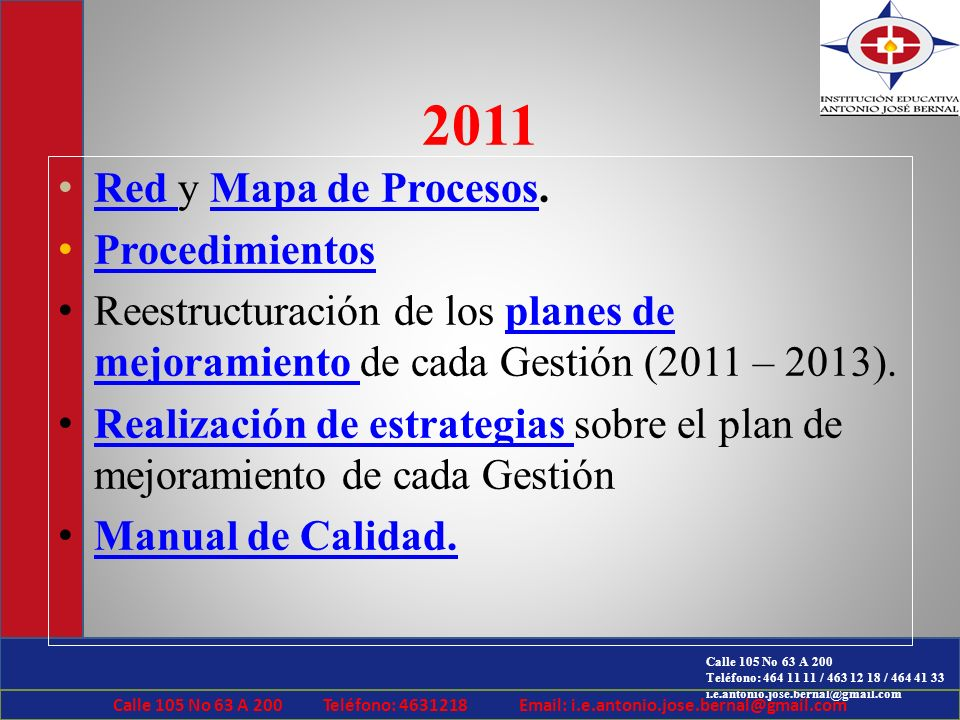 2011 Red y Mapa de Procesos. Procedimientos