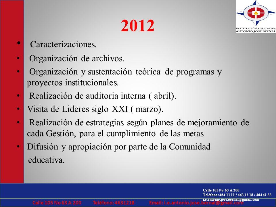 2012 Caracterizaciones. Organización de archivos.
