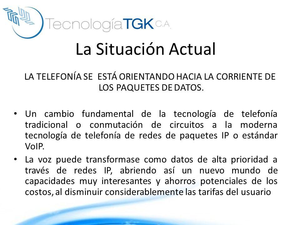 La Situación Actual LA TELEFONÍA SE ESTÁ ORIENTANDO HACIA LA CORRIENTE DE LOS PAQUETES DE DATOS.