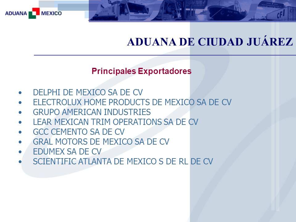 ADUANA DE CIUDAD JUÁREZ Principales Exportadores