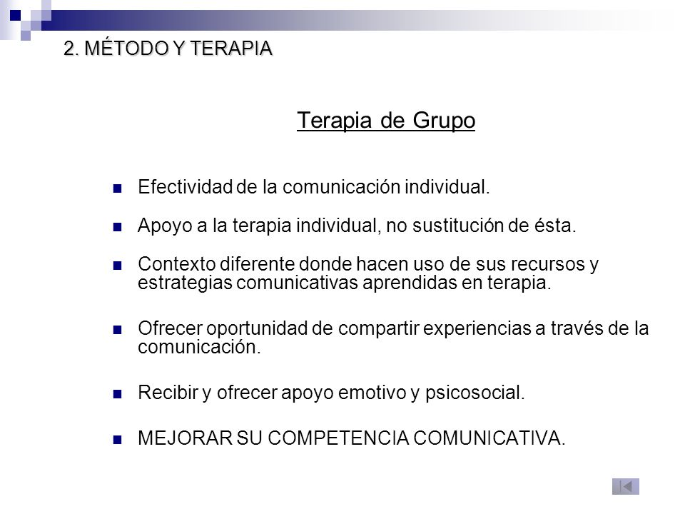 Terapia de Grupo 2. MÉTODO Y TERAPIA