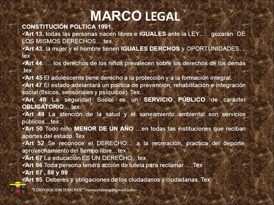 MARCO LEGAL CONSTITUCIÓN POLTICA 1991.