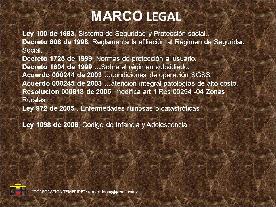 MARCO LEGAL Ley 100 de 1993, Sistema de Seguridad y Protección social..