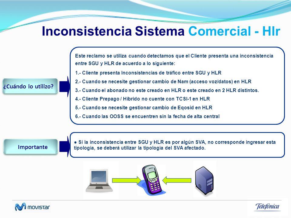 Inconsistencia Sistema Comercial - Hlr