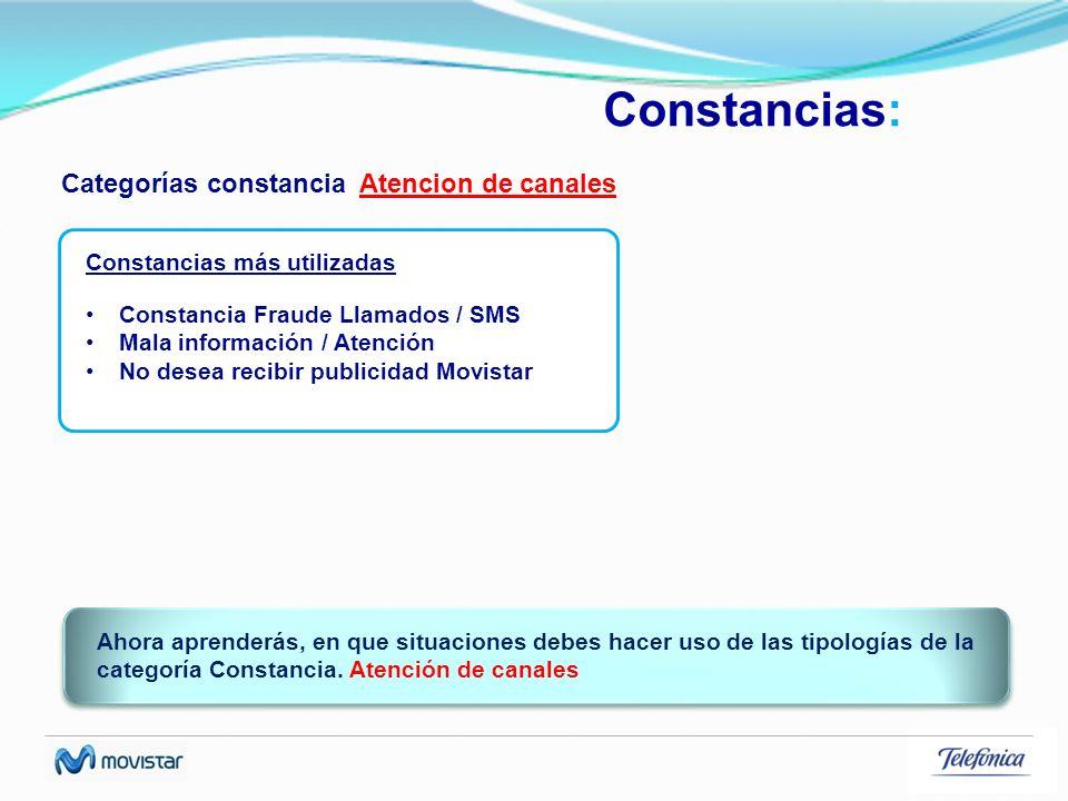 Constancias: Categorías constancia Atencion de canales