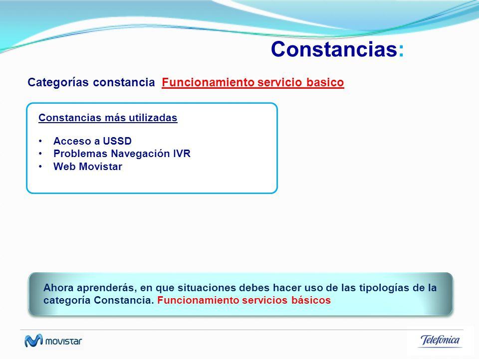 Constancias: Categorías constancia Funcionamiento servicio basico