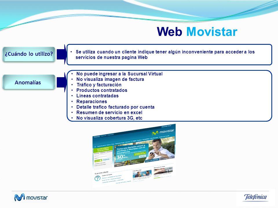 Web Movistar ¿Cuándo lo utilizo Anomalías