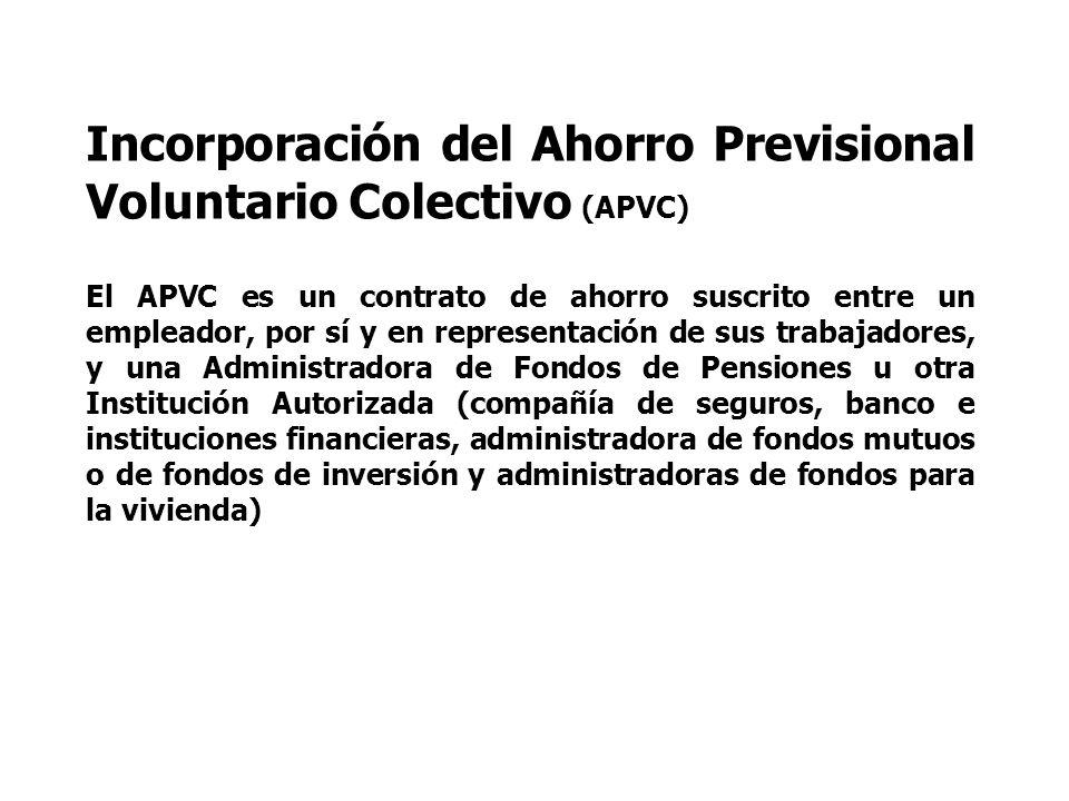 Incorporación del Ahorro Previsional Voluntario Colectivo (APVC)