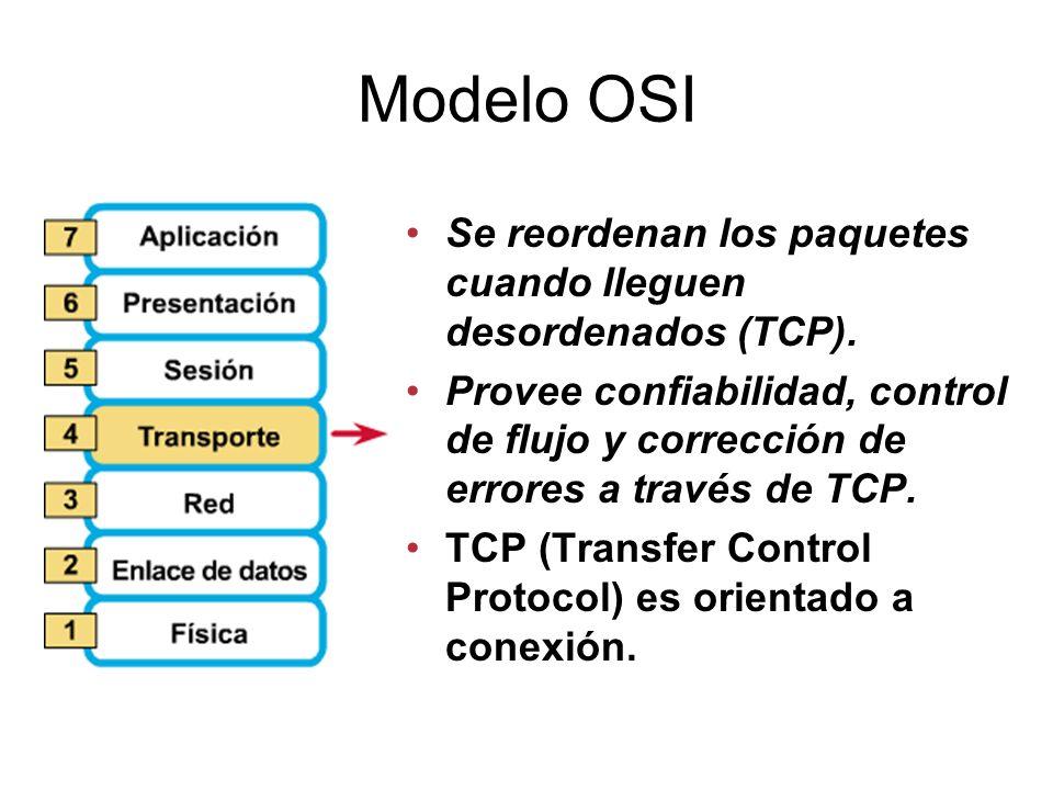 Modelo OSI Se reordenan los paquetes cuando lleguen desordenados (TCP).