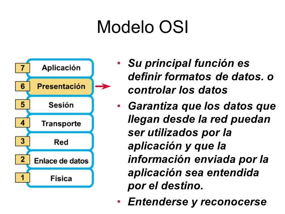 Modelo OSI Su principal función es definir formatos de datos. o controlar los datos.
