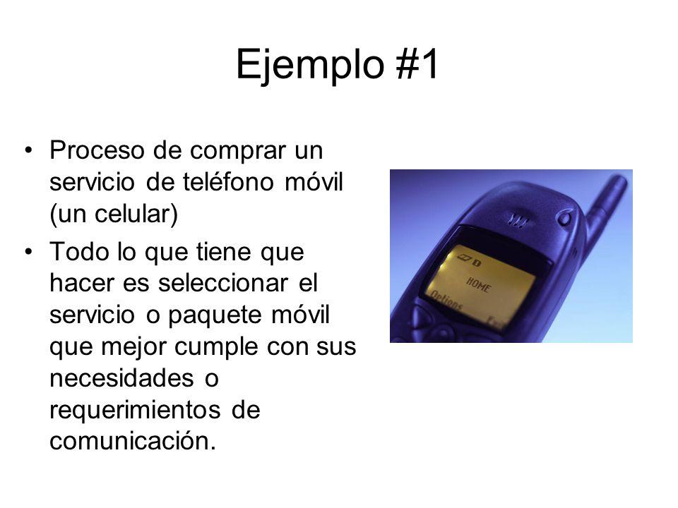 Ejemplo #1 Proceso de comprar un servicio de teléfono móvil (un celular)